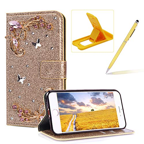 - Herzzer Diamond Wallet Leather Case for iPhone 8 Plus,Gold Glitter Flip Cover for iPhone 7 Plus, Luxury 3D Flower Butterfly Decor Magnetic Stand Case with Inner Soft Rubber Case