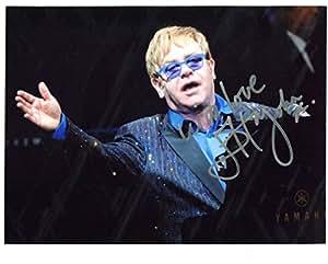Excelente ELTON JOHN 10 x 8 + COA firmé foto!
