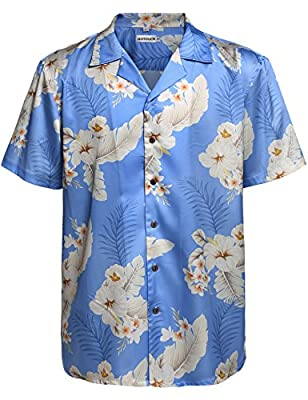 HOTOUCH Men's Hawaiian Aloha Vacation Shirt Short Sleeve Floral Tree Print Shirt