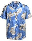 Hotouch Men Hawaiian Shirt Lightweight Short Sleeve Button Up Shirt Blue L