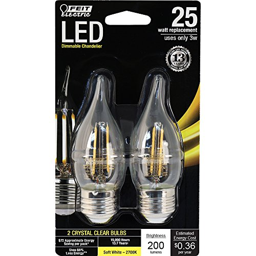 Feit Electric - Decorative Clear Glass Filament LED Dimmable 25 Watt Equivalent Soft White (2700K) Flame Tip Chandelier Bulb, Standard Base, Pack of 2 (BPEFC25/827/LED/2)