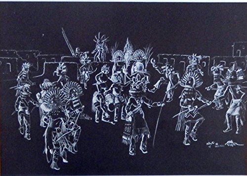 David Indian Print - Tewa Kachina Bean Dance, painting by Neal David, print art, gently removed from Vintage Indian Paintings Book