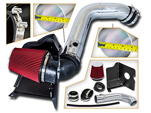 Cold Air Intake System with Heat Shield Kit Filter Combo RED Compatible For 04-05 GMC Sierra//Chevy Silverado 2500HD//3500 V8 6.6L Duramax