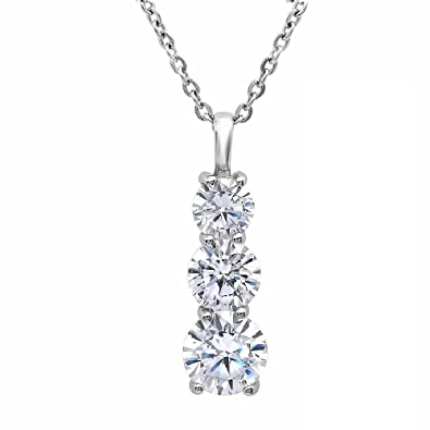 Amazon three stone cubic zirconia pendant in sterling silver three stone cubic zirconia pendant in sterling silver 4ct tgw 18 inch chain aloadofball Gallery