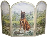 Stupell Home Décor 3 Panel Decorative Dog Fireplace Screen, Boxer, 43 x 0.5 x 31, Proudly Made in USA