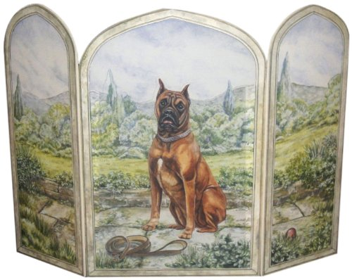 Stupell Home Décor 3 Panel Decorative Dog Fireplace Screen, Boxer, 43 x 0.5 x 31, Proudly Made in USA by The Stupell Home Decor Collection