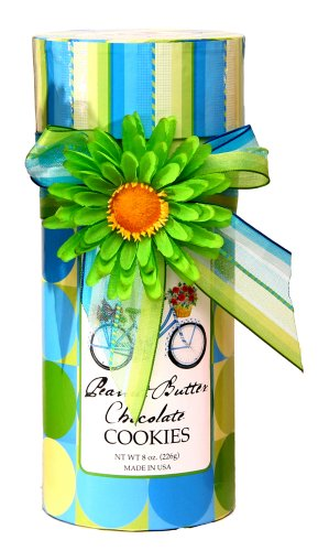 Too Good Gourmet Peanut Butter Chocolate Cookies In Blue Gift Tube, 8-Ounce Boxes (Pack of 3)
