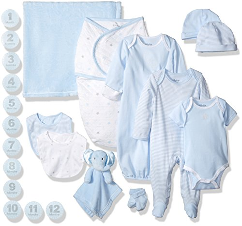 Sterling Baby by Vitamins Boys' Essential 12 Piece Layette Boxed Gift Set for, Blue, 0-3 Months