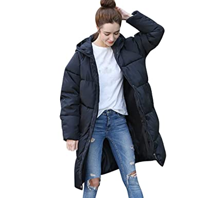 Inverlee Women Winter Warm Coat Solid Hooded Thick Warm Slim Jacket Long Overcoat
