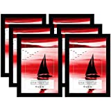 Americanflat 6 Pack - 4x6 Black Picture Frames with Glass Front