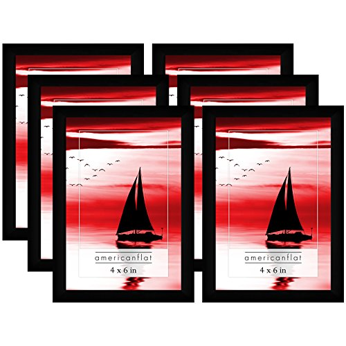 Americanflat Picture Frames with Glass Fronts, 6 Pack-4x6, Black