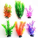 6pcs Artificial Aquarium Fish Tank Water Plant Plastic Decoration Ornament Artificial Plastic Water Plants Aquarium Tank Accessories Turtle Landscape (Multicolor)