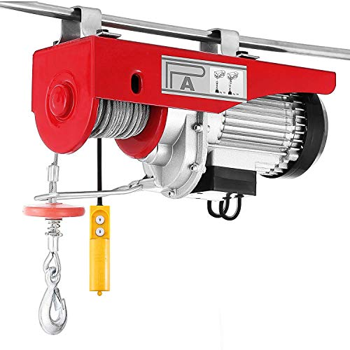 1320 lbs Lift Electric Hoist Crane Remote Control Power System, Zinc-Plated Steel Wire Overhead Crane Garage Ceiling Pulley Winch w/Premium Straps (UL/CUL Approval, w/Emergency Stop Switch)