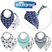 Reversible Baby & Toddler Bandana 3 Layers Waterproof Bibs with Adjustable Snap for Boys and Girls, (4-Pack)