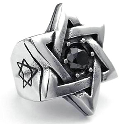 Stainless Steel Ring for Men, Demon Eyes Ring Gothic Black Band Silver Band 33MM Size 12 Epinki