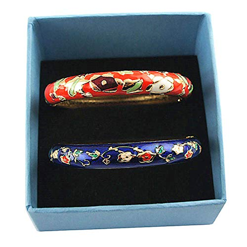 UJOY Fashion Cloisonne Jewelry Bangles Bracelets Floral Enameled Bangle Sets Gift Box for Women 55A80 Navy Blue