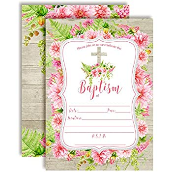 amazon com watercolor sunflower peony baptism invitations for