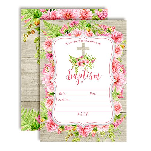 Watercolor Floral Pink Dahlias Baptism Invitations for Girls, 20 5