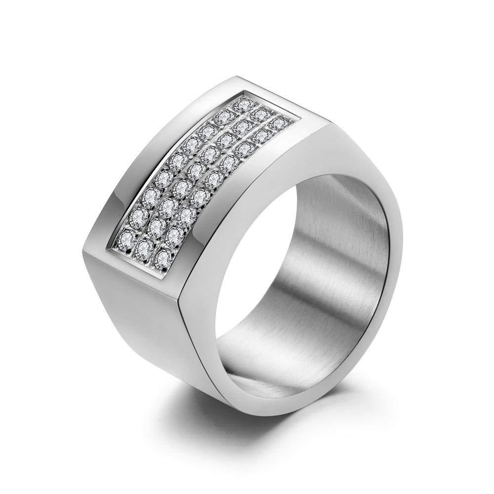 MAFYU Quality Rings Mens Rings Titanium Steel Three-Row Pav/é-Set Diamond Ring Gift to Dear