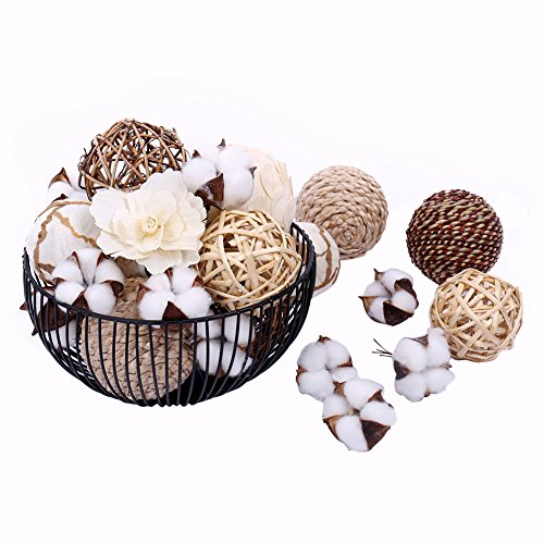 Black Fireplace Basket - Bag of Assorted Decorative Spherical Natural Woven Twig Rattan and Cotton Bowl and Vase Filler, Balls Spheres Orbs Filler - Brown and White (Brown2)