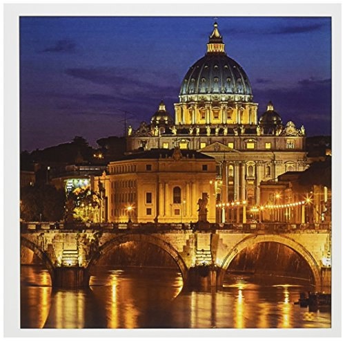 - 3dRose River Tiber Ponte Sant Angelo St. Peters Basilica Rome Italy Greeting Cards, Set of 6 (gc_187342_1)