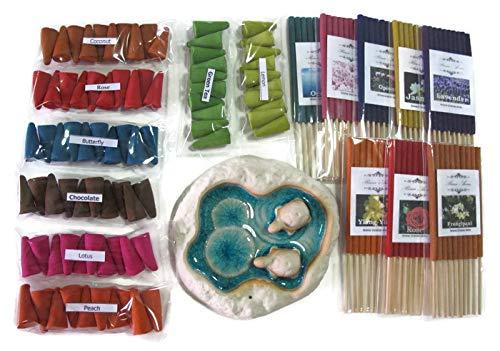 FULLLIGHTアロマ16 Scents、8パックの10アロマ香りIncenseチューブ3インチ、8パックの10 Fragrance Incense Cones &ハンドメイドセラミック香炉,亀スタイル(fl91 )   B07DH8V29V