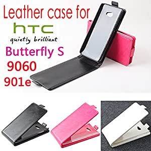 For HTC Butterfly S 9060 901E Case, New High Quality Genuine Filp Leather Cover Case For HTC Butterfly S 9060 case Free Shipping --- Color:Black