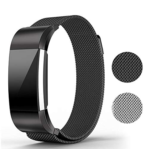 - runme Metal Bands for Fitbit Charge 2 Accessory-Stainless Steel Magnet Lock Replacement Bands Sport Strap Smartwatch Fitness Wristbands (Black,Band for Fitbit Charge2 6.5''- 9'')