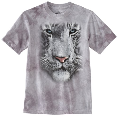 (The Mountain White Tiger Face Child T-Shirt, Grey, XL)