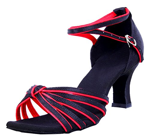 Honeystore Womens Adjustable Strap Knot Satin Dance Shoes Red KOuZvOMy