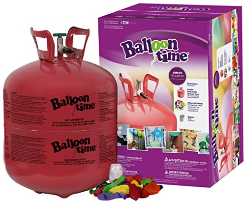 Blue Ribbon Balloon Time Disposable Helium Tank 14.9 cu.ft - 50 Balloons and Ribbon Included -