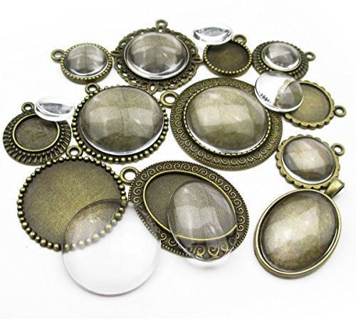 ALL in ONE 12 Sets Mixed Cabochon Frame with Glass Dome Setting Tray Pendant for DIY Jewelry Making (Antique Bronze)