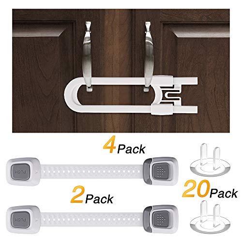 Sliding Cabinet Locks (4Pack), U Shape Child Baby Proofing Safety Locks for Kitchen Bathroom Storage Doors, Knobs, Handles with Extra Outlet Covers (20 Pack), Adjustable Child Locks (4 Pack)