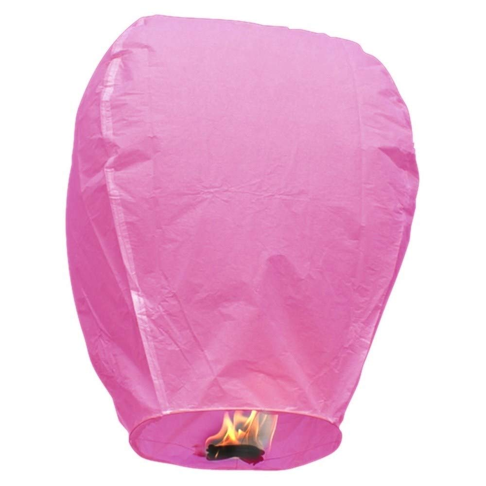 MISC Pink 5 Floating Lanterns to Release in Sky Chinese Flying Lighted Wish Candles Inflatable Air Biodegradable by MISC (Image #1)