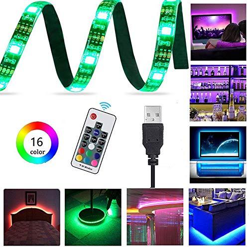 LemonBest LED TV Backlight 2M/6.56FT 60-LED USB LED Light Strip IP65 Waterproof, RF 17 Keys Remote Control, 16 RGB Colors Change for 40 to 60in TV Backlight