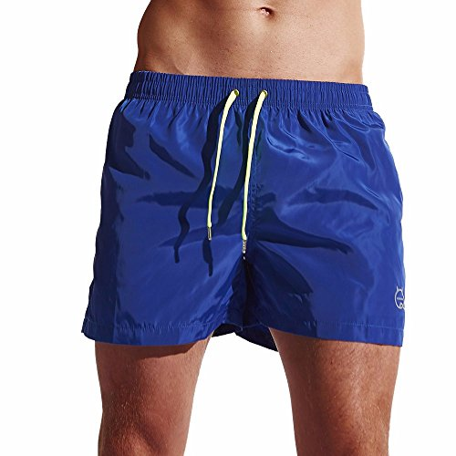 WENSY Men's Fashion Solid Color Shorts Swim Shorts Quick Dry Beach Surf Running Swimming Watershort Boxer Shorts(D-Blue,L)