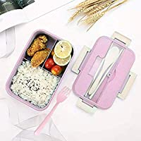 Bento Box for Kids,Lunch Box Lunch Container for Adults,Leakproof Lunch Containers with 3 Compartments,Made by Wheat Fiber Microwave Safe,Divided Food Storage Container with Lid & Free tableware