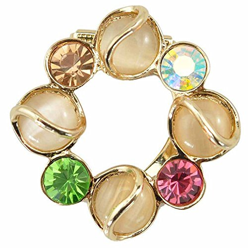 RichBest Creative Cat's Eye Stone Crystal Flower Breat Pin Scarf Clips Elegant - Clip Eyes Cat Art