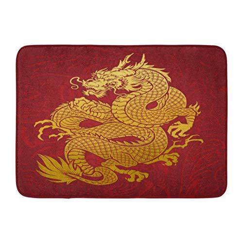 Emvency Doormats Bath Rugs Outdoor/Indoor Door Mat Chinese Coiled Dragon Gold on Red Japanese Oriental Thailand Korean Bathroom Decor Rug 16