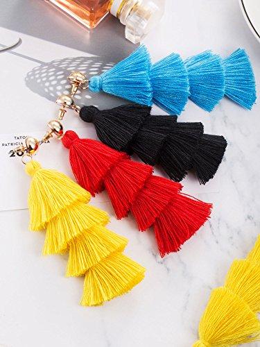 1d894aaf39b247 Hestya 4 Pairs Tassel Earrings Handmade 4 Layers Elegant Tassel Drop  Earrings for Women Girls Accessories