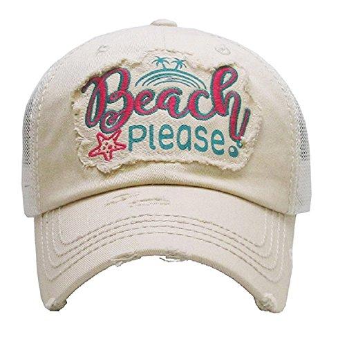 - KB JP Vintage Distress Beach Please Star Fish Palm Tree Vented Trucker Mesh Hat Cap (Khaki Tan Beige White)