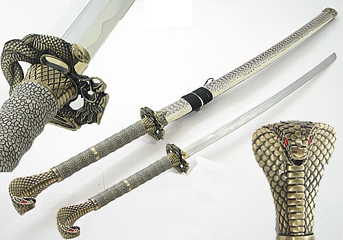 "Lastworld 43"" Cobra Snake Head Sharp Samurai Sword"