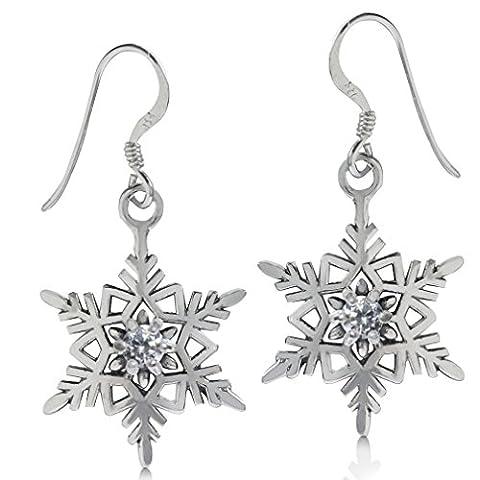 White CZ 925 Sterling Silver Snowflake Dangle Earrings (Sterling Snowflake Earrings)