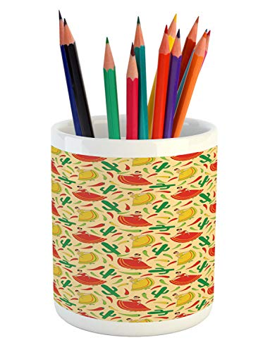 - Ambesonne Spanish Pencil Pen Holder, Dancing Mexican Women Cactus and Chili Peppers Jalapeno Latin Motif, Printed Ceramic Pencil Pen Holder for Desk Office Accessory, Green Vermilion Yellow