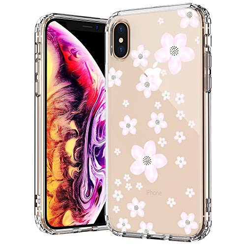 MOSNOVO Flower iPhone Xs MAX Case, Pink Cherry Blossoms Floral Flower Pattern Printed Clear Design Transparent Back Case with TPU Bumper Protective Case Cover for iPhone Xs ()