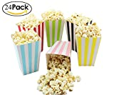popcorn and candy holder - Colorful Striped Popcorn Boxes Cardboard Candy Container for Carnival/ Party/ Movie/ Fiesta/ Super Bowl, 24 Pieces