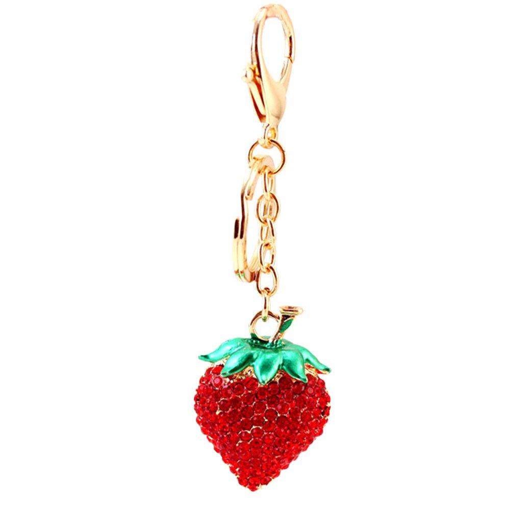 Healifty Rhinestone Strawberry Key Chain Cute Key Ring Handbag Charm Pendant Decoration