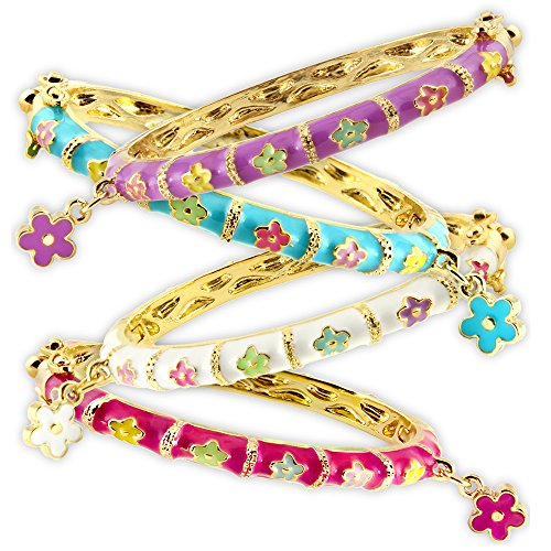 Enamel Bangle Bracelets With Flower Charm Best Gifts 18k Gold Plated Fashion Jewelry For Girls by A Touch of Dazzle