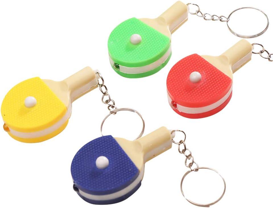 Toyvian Llavero de Raqueta de Tenis de Mesa con Luces Llaveros creativos Llaveros Pendientes Regalo de 10 Piezas (Color Aleatorio)