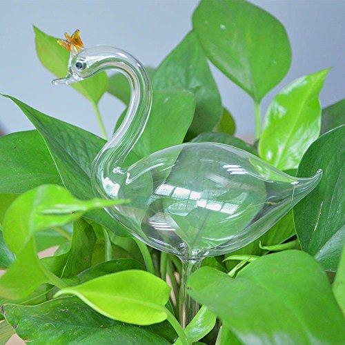 calunce-2pcs-small-hand-blown-clear-glass-self-watering-aqua-globes-decorative-swan